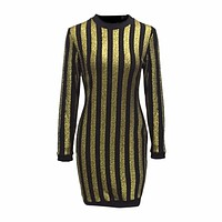 Long Sleeve Gold And Black Strip Mini Dress