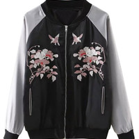 Color Block Embroidery Bird And Floral Bomber Jacket