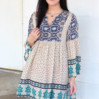 Riviera Bohemian Printed Dress {Ivory Mix}