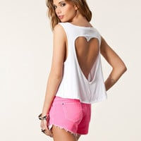 Heart Cut-out Tank Top - White crop top
