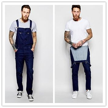 Men's Long Pants Trousers Strappy Overalls
