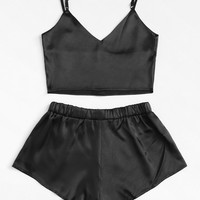 Solid Satin Crop Cami Top With ShortsFor Women-romwe
