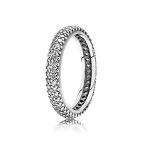 Authentic 925 Sterling Silver Ring With Full Crystal European Style Wedding Rings Fit Women Compatible With Pandora Jewelry R18