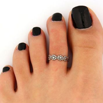 Silver Plated Daisy Flower Toe Ring