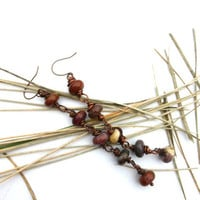 Red Creek Jasper gemstone, copper wire wrapping long earrings. Stone and metal jewelry.