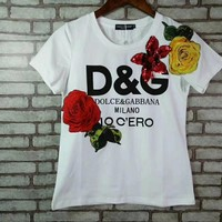 """Dolce & Gabbana"" Man And Woman Fashion Casual Short-Sleeved  Printed Round Neck   Top"