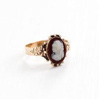 Antique 9k Rose Gold Sardonyx Hardstone Cameo Ring - Victorian Late 1800s Carved Female Silhouette Size 7 1/2 Embossed Fine Vintage Jewelry