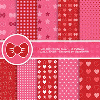 Hello Kitty Digital Paper Pack, 10 pink and red backgrounds, hearts, daisies, stars, bows, polkadots, Buy 2 Get 1 Free, Instant Download