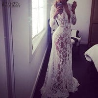 European Style Womens Sexy Lace Embroidery Maxi Solid White Dress