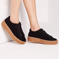 Missguided - Lace Up Flatform Trainers Black