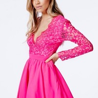 Missguided - Dayana Pink Lace Sleeve Puff Ball Dress