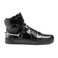 Gucci Men's Black Shiny Leather GG Horsebit High Top Sneakers Shoes