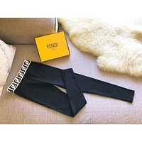 FENDI Women Black Elastic Leggings Pants