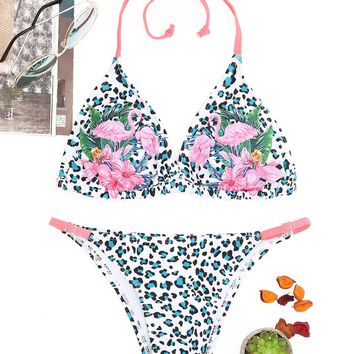 Leopard Flamingo Print String Bikini Set