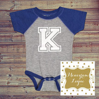 Kentucky Bodysuit - K Bodysuit - Kentucky Baby - UK Baby - Kentucky Infant - Wildcat Bodysuit - Royal Blue Baseball Onesuit - Monogram Layne