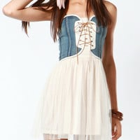 Janet Denim Corset Tulle Dress