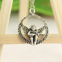 love necklace--hold the harp angle necklace, antique silver necklace,boy charm pendant,alloy necklace,alloy chain