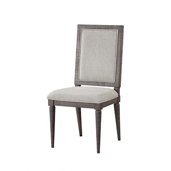 """Wood Accent Chair - 18"""" X 21"""" X 41"""" Fabric Salvaged Natural Wood Upholstered (Seat) Side Chair (Set-2)"""