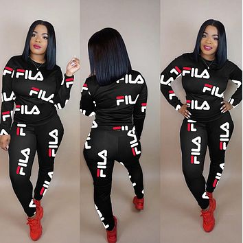 FILA Women Casual Print Top Pants Trousers Set Two-Piece Sportswear