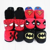 Deadpool Dead pool Taco 28cm Cartoon Slippers Superman Batman Spiderman  Harley Quinn Plush Stuffed Slippers Winter Indoor Shoes AT_70_6