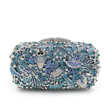 News Bird Owl Rhinestone Metal Minaudiere Box Clutches