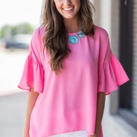 Successful In Ruffles Top, Pink