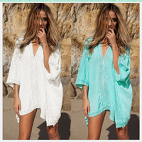 Beachwear Kaftan  Women Swim Suit Cover Ups Solid  Robe Plage Half Sleeve Coverups Dames Strand Tuniek  Robe De Plage Tunique