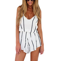 Sexy fashion summer stripe Halter Romper