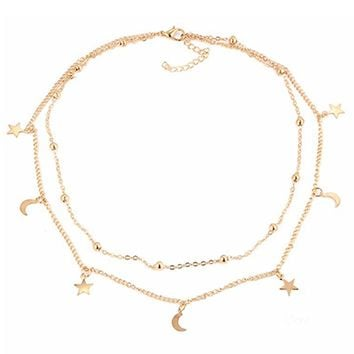 Gold Star Moon Necklace
