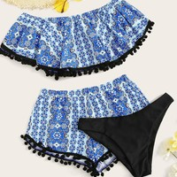 Random Floral Flounce Bikini Set With Shorts 3pack