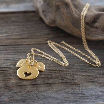 Gold Personalized Initial Necklace - 24K Gold-Dipped Cutout Heart & Initial Charms on 14K Gold-Filled Chain . Gift Ideas for Her, New Mom