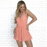 Sweet Melody Coral Sheer Romper