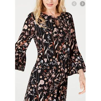 Style & Co Petite Printed Bell-Sleeve Dress Size PP