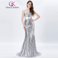 Gold Evening Dresses Luxury Long Silver Formal Evening Gowns Sequin Wedding Party Floor Length Red Carpet Dresses