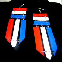 Red White & Blue Leather Earrings (pierce or clip)