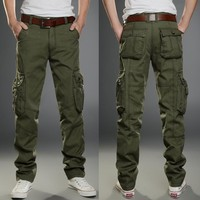 2018 Brand Mens Military Cargo Pants Multi-pockets Baggy Men Pants Casual Trousers Overalls Army Pants Cargo Pants high quality