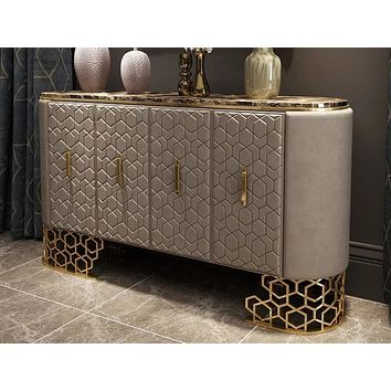 Silver Shine Leather Upholstered Buffet Table
