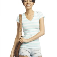 Reese Striped V-Neck Tee | Wet Seal
