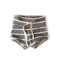 Organic Baby Shorties in Charcoal Stripes