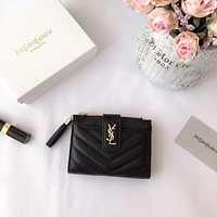 YSL SAINT LAURENT WOMEN'S LEATHER ZIPPER WALLET