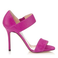 Jazzberry Nappa and Suede Evening Sandals | Tallow | Pre Fall 14 | JIMMY CHOO Shoes