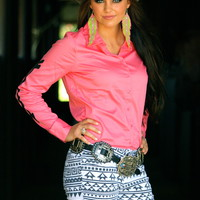 PINK RODEO SHIRT WITH BLACK ARROWS