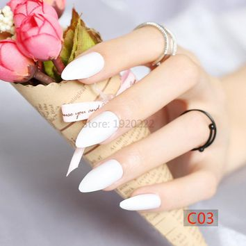 Sexy Fashion Long pointed candy false nails tail tip Nail tablets pure white C03