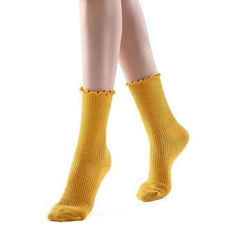 Princess Lulu Ruffle Crew Sock | Yellow