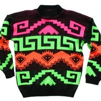 Shop Now! Ugly Sweaters: Bright Day-Glo Vintage 80s Tacky Ugly Cosby Sweater Men's Size Large (L) $40 - The Ugly Sweater Shop