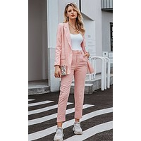 Carefree Feeling Plaid Pattern Long Sleeve Button Blazer Jacket Skinny Pant Two Piece Set - 2 Colors Available