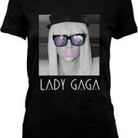 LADY GAGA -- GLASSES DECO -- BLACK JUNIORS TEE