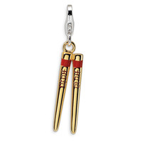 Sterling Silver 3-D Enameled Gold-plated Chopstick w/Lobster Clasp Charm