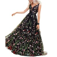 Black Tulle With Flower Embroidery Evening Dress
