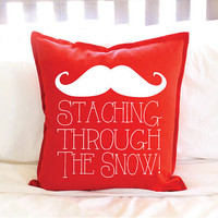 "Christmas Decor Red ""Staching Through the Snow"" Mustache Pillow Cover"